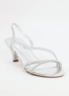 Glitter wedding shoes with rhinestones...  So pretty!  Perfect for brides and bridesmaids!