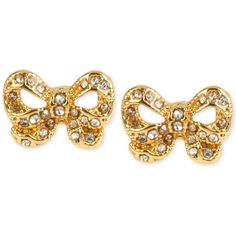Betsey Johnson Gold-Tone Bow Stud Earrings ($25) found on Polyvore featuring jewelry, earrings, gold, stud earring set, gold tone earrings, betsey johnson, gold tone jewelry and betsey johnson jewelry