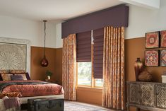 purple window treatments Springs Window Fashions, Graber Blinds, Window Treatments Living Room, House Blinds, Living Room Color Schemes, Custom Drapes, Shades Blinds, Window Styles, Room Colors