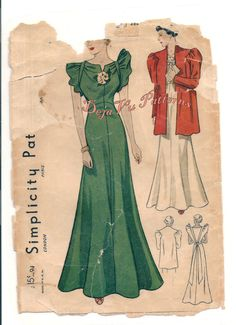 Simplicity 2150 Vintage 1930s Evening Gown and by DejaVuPatterns, $110.00