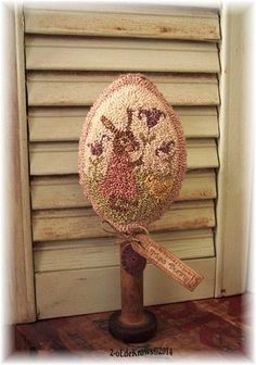 Miss Bunny- PrimiTive OriginaL Rabbit & Chick Spring Egg Punch Needle Make-do