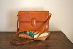 vintage leather bag  CARAMEL brown envelope handbag by MsTips, $42.00