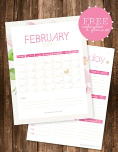FREE downloadable calendar & daily planner from Hello Monday Design - like the daily pages!