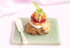 Corn Fritters with Goats' Cheese, Regal Smoked Salmon and Strawberries