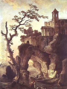 Architectural Ruins in a Rocky Landscape by Hubert Robert