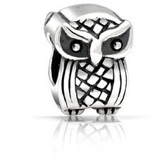 Sterling Silver Vintage Style Owl Bead Pandora Compatible Charm ($13) ❤ liked on Polyvore featuring jewelry, pendants, special occasion jewelry, sterling silver owl charm, sterling silver bead charms, owl jewelry, holiday jewelry and animal charms