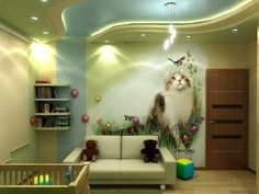 Children's room in light green colors   Kids Room Ideas   Homeid
