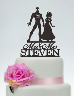 Spider-Man Cake Topper,Bride And Spider-Man Silhouette,Wedding Cake ...