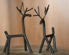 2 of the Original Santa's Re-bar Reindeer by WeldedWizardry Recycled Yard Art, Christmas Art, Christmas Decorations, Western Kitchen Decor, Metal Worx, Welding Art Projects, Chris Craft, Metal Welding, Scrap Metal Art