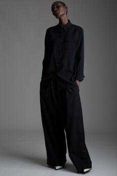 Vintage Hermes Black Wool Shirt and Yohji Yamamoto Pants. Designer Clothing Dark Minimal Street Style Fashion