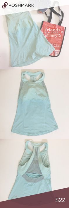 """Light blue lululemon tank - see measurements Light blue lululemon tank. No padding. Missing tag and size dot, please see measurements: chest - 12.5"""", length - 22"""". A couple of small spots on exterior and light fading along interior neckline. lululemon athletica Tops Tank Tops"""
