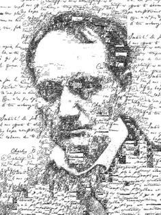 "sergioalbiac:    Manuscript self portrait of Charles Baudelaire (1821-1867), by Sergio Albiac - Portrait of the french poet using one of his manuscript poems. From the series ""Manuscript self portraits"". Generative calligraphic collage.  Facebook Page"