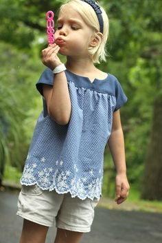 Love the clever use of the fabric.. bottom of a skirt repurposed into a top. Oliver and S by L Poel, via Flickr