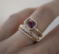 This new Tourmaline beauty is a true stunner, with the prettiest warm color palette she looks like an ombré sunset 🌅. And for a bit of… Bridal Rings, Bridal Jewelry, Wedding Rings, Bezel Set Ring, Ring Verlobung, Art Deco Jewelry, Fine Jewelry, Jewelry Design, Cz Jewellery