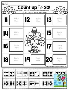 Count up to 20! Cut and paste the set that matches each number.  TONS of great printables!