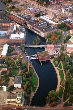 Tampere. The Tammerkoski rapid in the middle of photo.