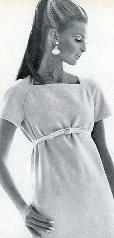 Samantha is wearing a pink wool gabardine dress with short-cropped sleeves and high belt by Jacques Tiffeau, photo by Bert Stern, Vogue 1967