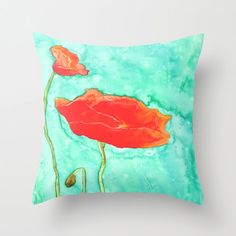 Decorative Poppy Floral Pillow Cover  Throw by BrazenDesignStudio, $30.00