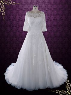 Modest Lace Wedding Dress with Half Sleeves and Illusion Neckline   Angel