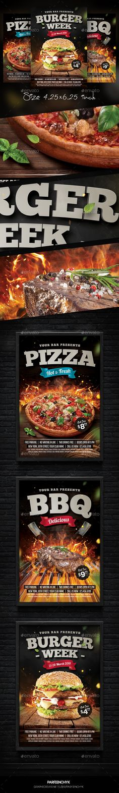 Burger Steak Pizza Flyer Templates PSD Bundle. Download here: https://graphicriver.net/item/burger-steak-pizza-flyer-bundle/17217276?ref=ksioks