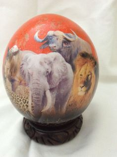 Other – Decoupage Ostrich Egg, incl shipping and stand – a unique product by Delvi-International on DaWanda