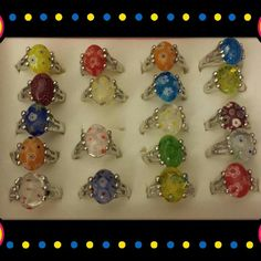 Rings 19 Natural stone rings with flower design, Silver plated. Assorted sizes&colors. Price is for all   NWOT Jewelry Rings