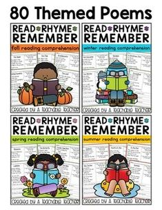 Printable BUNDLE. Reading Comprehension Poems are a great way to practice reading comprehension. Why? Read, Rhyme, Remember is a fun and engaging way to integrate seasonal learning, rhyming and #readingcomprehension.   fall poems   teaching reading   poetry reading passages   First grade reading activities   2nd grade reading   reading comprehension posters   printable posters for classroom   classroom decor