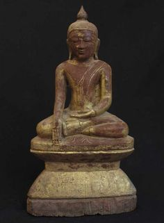 18th Century Ava Style Wooden Burmese Buddha statue picclick.com