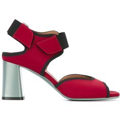 Marni One Band Neoprene Sandals (6 595 UAH) ❤ liked on Polyvore featuring shoes, sandals, red, open toe shoes, ankle strap shoes, open toe sandals, velcro shoes and block heel shoes