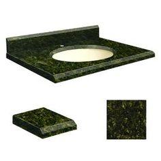 Transolid Uba Verde Granite Undermount Single Sink Bathroom Vanity Top