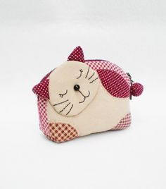 Lovely Kitten Zipper Quilted  Purse Brown Small Coin by MadeBySiam, $19.00