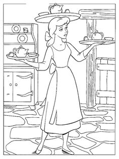 coloring page Cinderella for the little kids who get bored at a