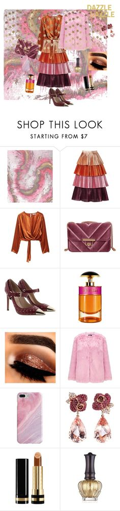 """""""Christmas Party Sparkle"""" by joannelibonati ❤ liked on Polyvore featuring Delfi Collective, MANGO, Valentino, Prada, Miss Selfridge, Recover, Anyallerie, Gucci, Anna Sui and Berylune"""