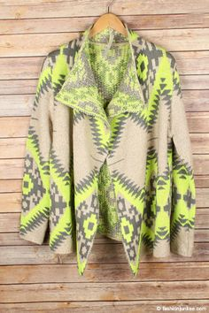 Very thick fabric. Geometric tribal aztec print design in the perfect combination of colors that make a statement without going over the top. Look effortlessly chic in this gorgeous cardigan. Tribal Print Cardigan, Love Fashion, Autumn Fashion, Fashion Capsule, Grey And Beige, Open Front Cardigan, Tribal Prints, Neon Yellow, Boutique Clothing