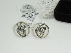 Anatomical Heart Cuff Links with Case, groom, groomsman, bridesman cufflinks, custom wedding gifts wedding gift Box by DESIGNERSHINDIGS on Etsy