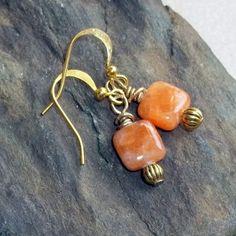 Orange Sunstone Earrings