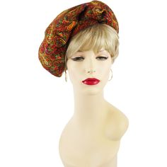 Vintage 1970s Hat Gold Paisley Banded Beret Sz 22