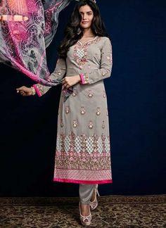 200c530f2a Grey Embroidery Work Georgette Designer Print Pakistani Palazzo Suit. Buy  online shopping salwar kameez at - Fiji.