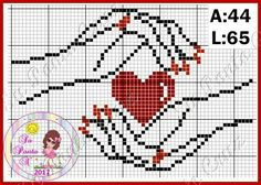 Molding heart with hands x-stitch Pixel Art Coeur, Loom Patterns, Knitting Patterns, Graph Paper Art, Cross Stitch Heart, Le Point, Loom Beading, Pattern Art, Cross Stitching