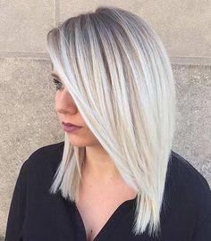 Straight Ice Blonde Lob Haircut