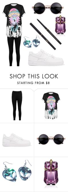 """""""Alien Vibes"""" by atomicpixiecat ❤ liked on Polyvore featuring Boohoo, WithChic, NIKE, Thierry Mugler and Yves Saint Laurent"""
