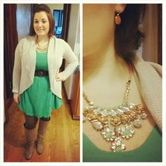 #ChubbyChique 11-27-2014 #ootd Happy Thanksgiving! Green dress by #Mossimo from #Target #TargetStyle , tan open cardigan by #ExpressFashion , brown chevron tights, tan low wedge boots by #SteveMadden , green and coral necklace by Leslie Danzig, orange earrings by #Dazzley