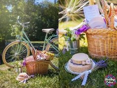 Wedding picnic with a bycicle