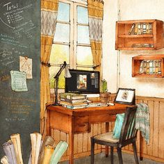#interior #interiordesign #homedecor #homedesign #design #illustrations #illust #illustrator #workroom #drawing #sketch  #grafolio #aeppol #애뽈 #일러스트 #일러스트레이션 #드로잉 #인테리어 #인테리어소품 #작업실