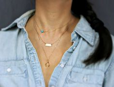 Customized Gold Small bar and stone Layering necklace, minimalist Bar and lucky wishbone charm layered, small name plate, 3 necklaces set