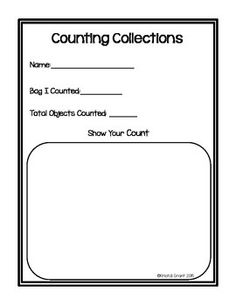 Free COUNTING COLLECTIONS blackline masters for