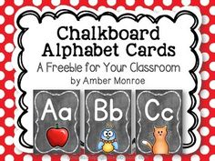 cThis free set of alphabet cards was created for classroom display. They have a dusty chalkboard background, as well as bright and colorful pictures to go with each letter. Class Displays, Classroom Displays, Classroom Themes, Classroom Organization, Classroom Design, Google Classroom, Organization Ideas, Organizing, Alphabet Wall Cards