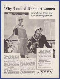 Antique Vintage 1929 KOTEX Feminine Hygiene Decor RARE Print Ad 1920's #Kotex