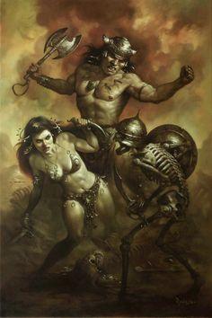 Conan by Patrick Jones Fantasy Warrior, Sci Fi Fantasy, Dark Fantasy, Comic Books Art, Comic Art, Conan Der Barbar, Red Sonja, Comic Kunst, Conan The Barbarian