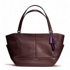 Coach Park Leather Carrie Fig Tote Shoulder Handbag F23284